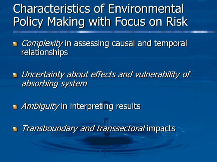Characteristics of Environmental Policy Making with Focus on Risk