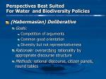 perspectives best suited for water and biodiversity policies