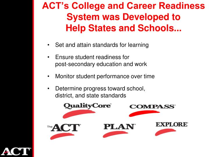 ACT's College and Career Readiness System was Developed to