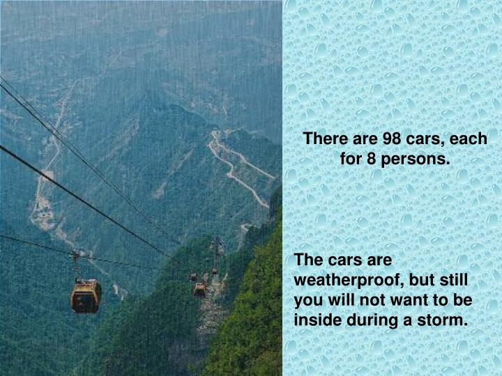 There are 98 cars, each for 8 persons.