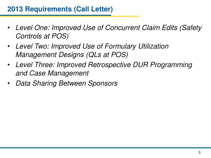 2013 Requirements (Call Letter)
