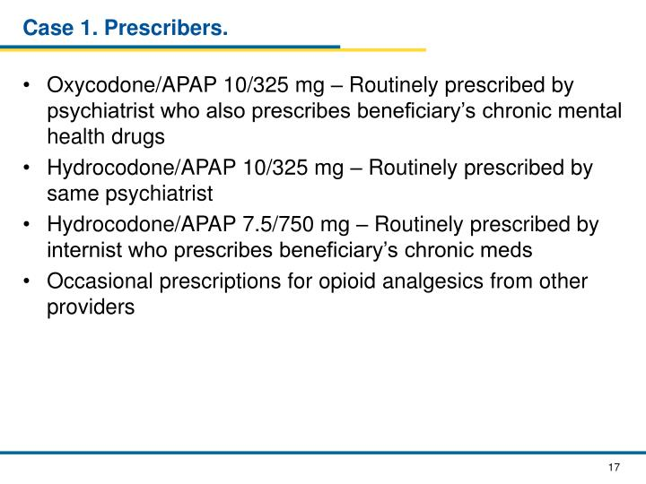 Case 1. Prescribers.