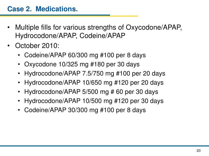 Case 2.  Medications.