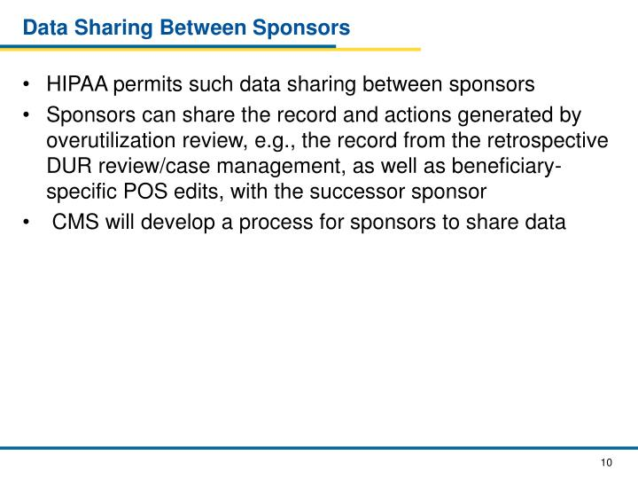 Data Sharing Between Sponsors