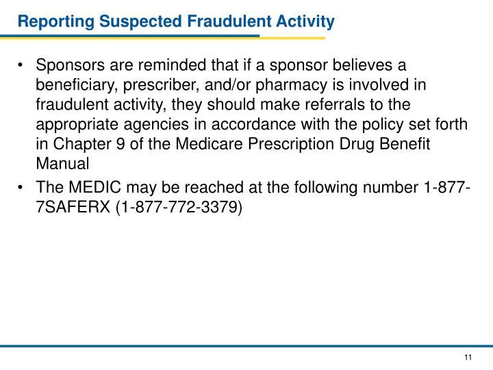 Reporting Suspected Fraudulent Activity