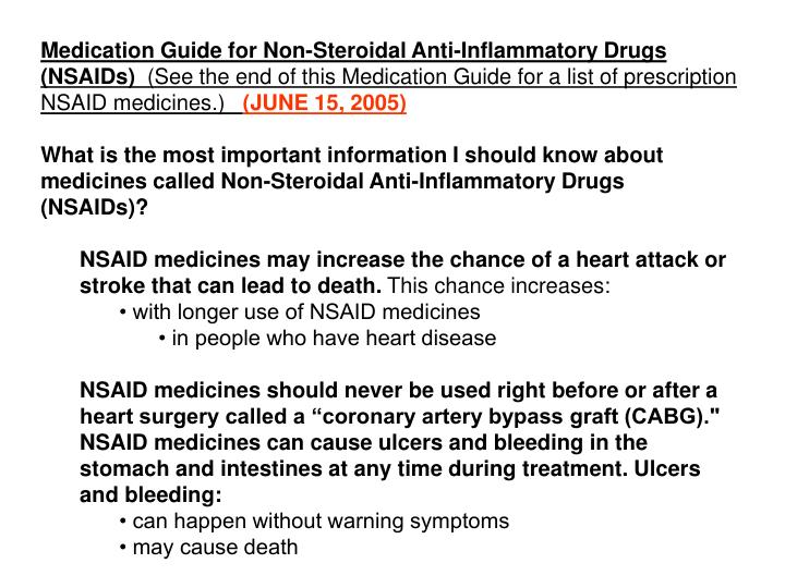 Medication Guide for Non-Steroidal Anti-Inflammatory Drugs (NSAIDs)