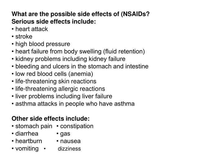 What are the possible side effects of (NSAIDs?
