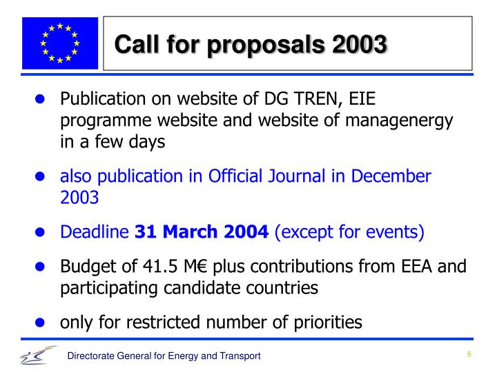 Call for proposals 2003