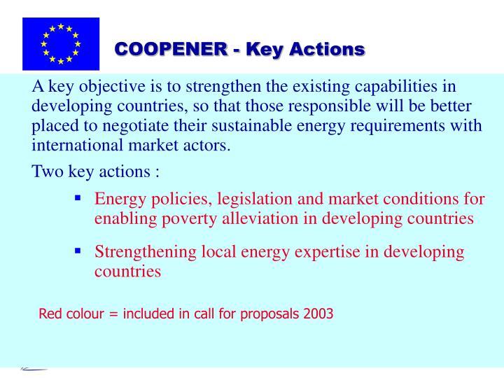 COOPENER - Key Actions