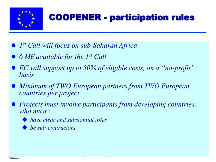 COOPENER - participation rules