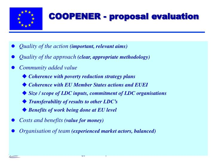 COOPENER - proposal evaluation