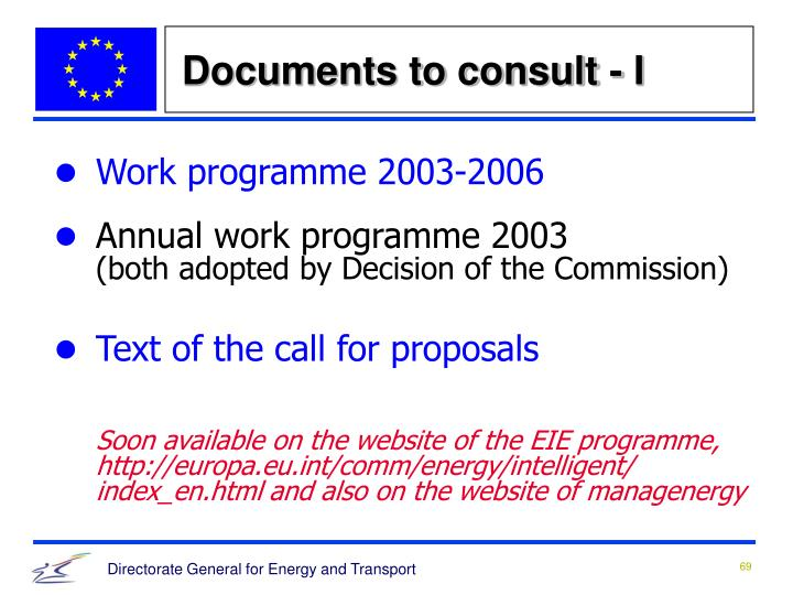 Documents to consult - I