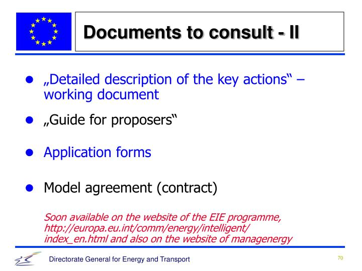 Documents to consult - II