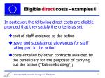eligible direct costs examples i