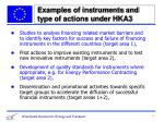 examples of instruments and type of actions under hka3