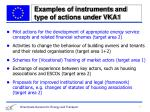 examples of instruments and type of actions under vka1