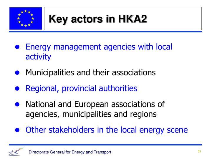 Key actors in HKA2