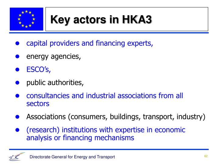 Key actors in HKA3