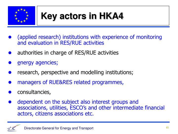 Key actors in HKA4