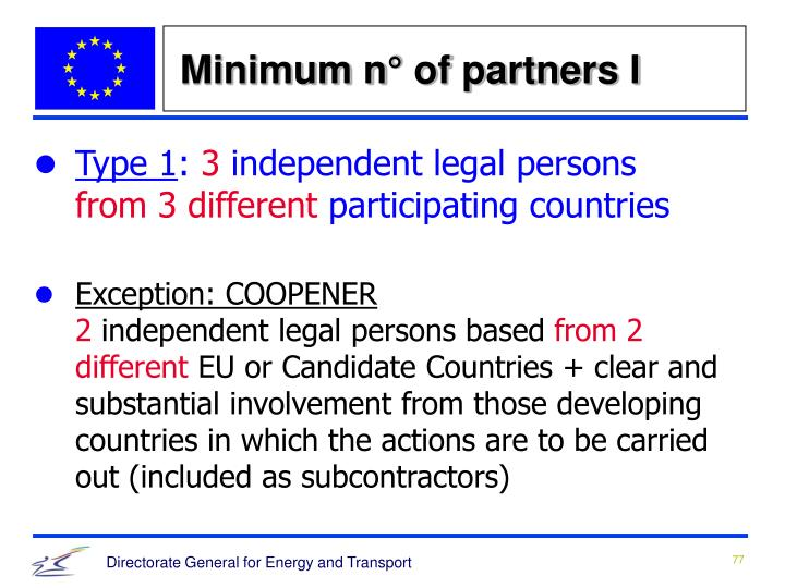 Minimum n° of partners I
