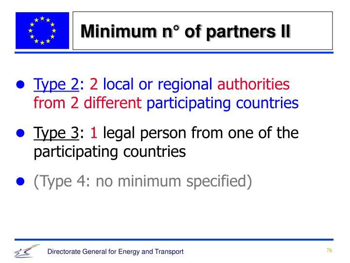Minimum n° of partners II