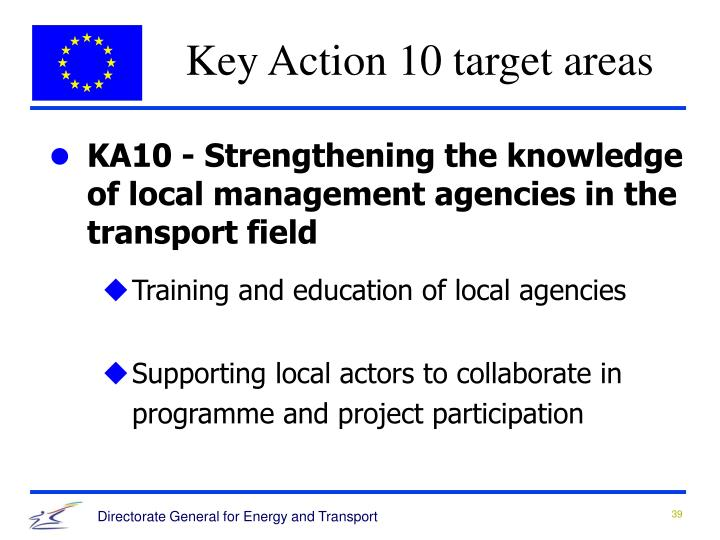 Key Action 10 target areas