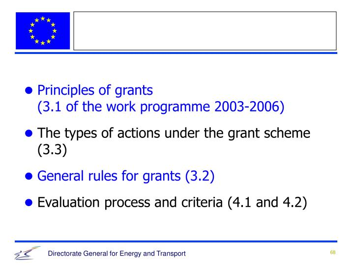 Principles of grants