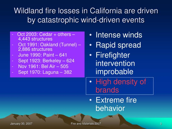 Wildland fire losses in california are driven by catastrophic wind driven events