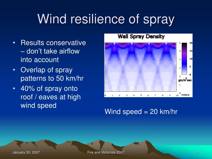 Wind resilience of spray