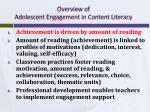 overview of adolescent engagement in content literacy