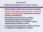 overview of adolescent engagement in content literacy1