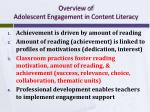 overview of adolescent engagement in content literacy2