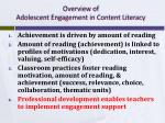 overview of adolescent engagement in content literacy3