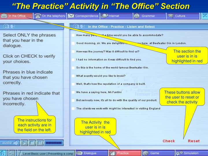 """The Practice"" Activity in ""The Office"" Section"