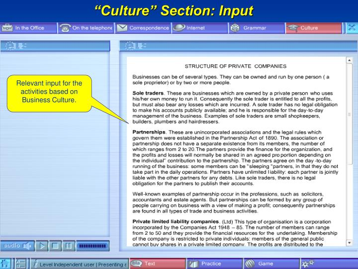 """Culture"" Section: Input"