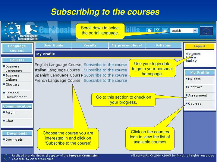 Subscribing to the courses