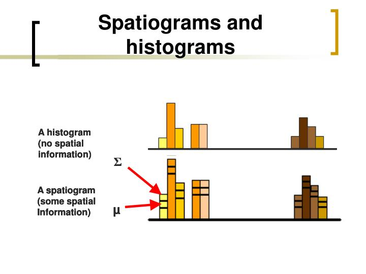 Spatiograms and histograms