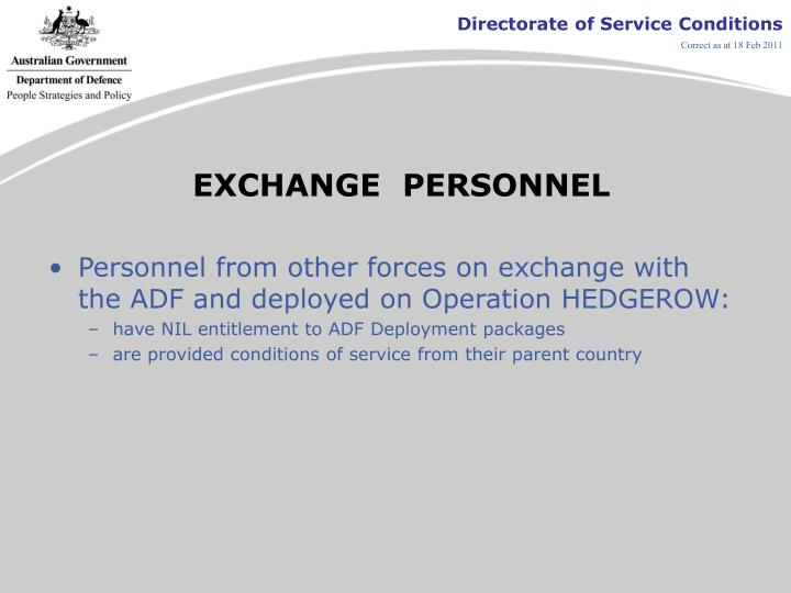 EXCHANGE  PERSONNEL