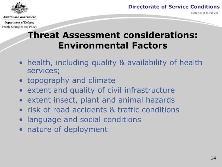 Threat Assessment considerations: