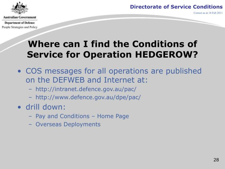 Where can I find the Conditions of Service for Operation HEDGEROW?