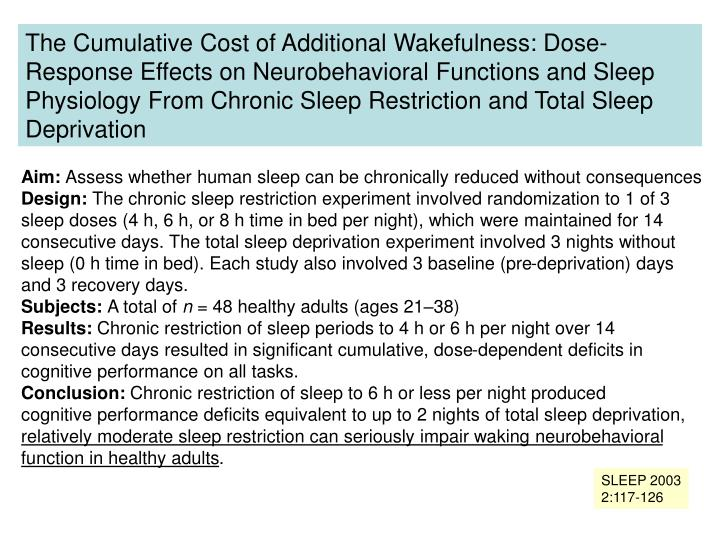 The Cumulative Cost of Additional Wakefulness: Dose-Response Effects on Neurobehavioral Functions and Sleep Physiology From Chronic Sleep Restriction and Total Sleep Deprivation