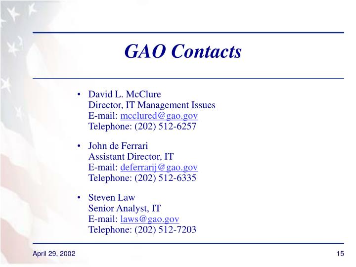 GAO Contacts