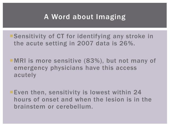 A Word about Imaging