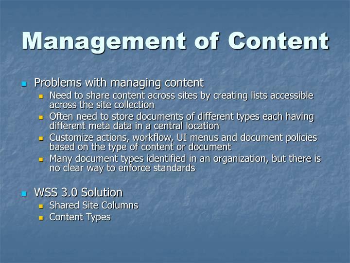 Management of Content