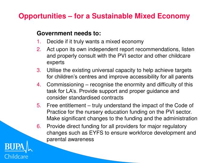 Opportunities – for a Sustainable Mixed Economy