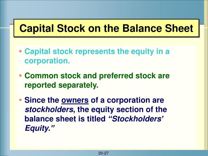 Capital Stock on the Balance Sheet