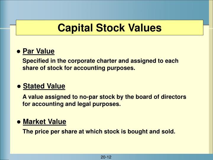 Capital Stock Values