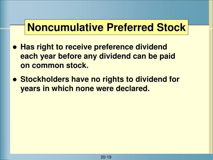 Noncumulative Preferred Stock
