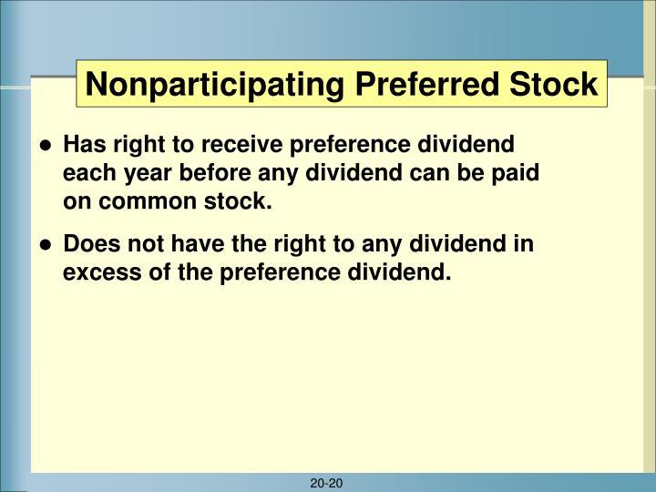 Nonparticipating Preferred Stock