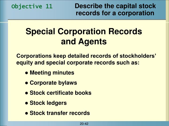 Describe the capital stock records for a corporation
